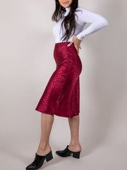 Kimberly Skirt Satin Cheetah Print Midi Burgundy