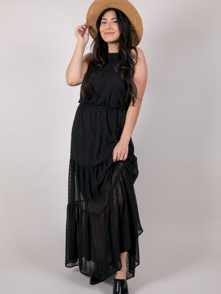 Elite Maxi Dress Maxi Stitched Polka Dotted Halter