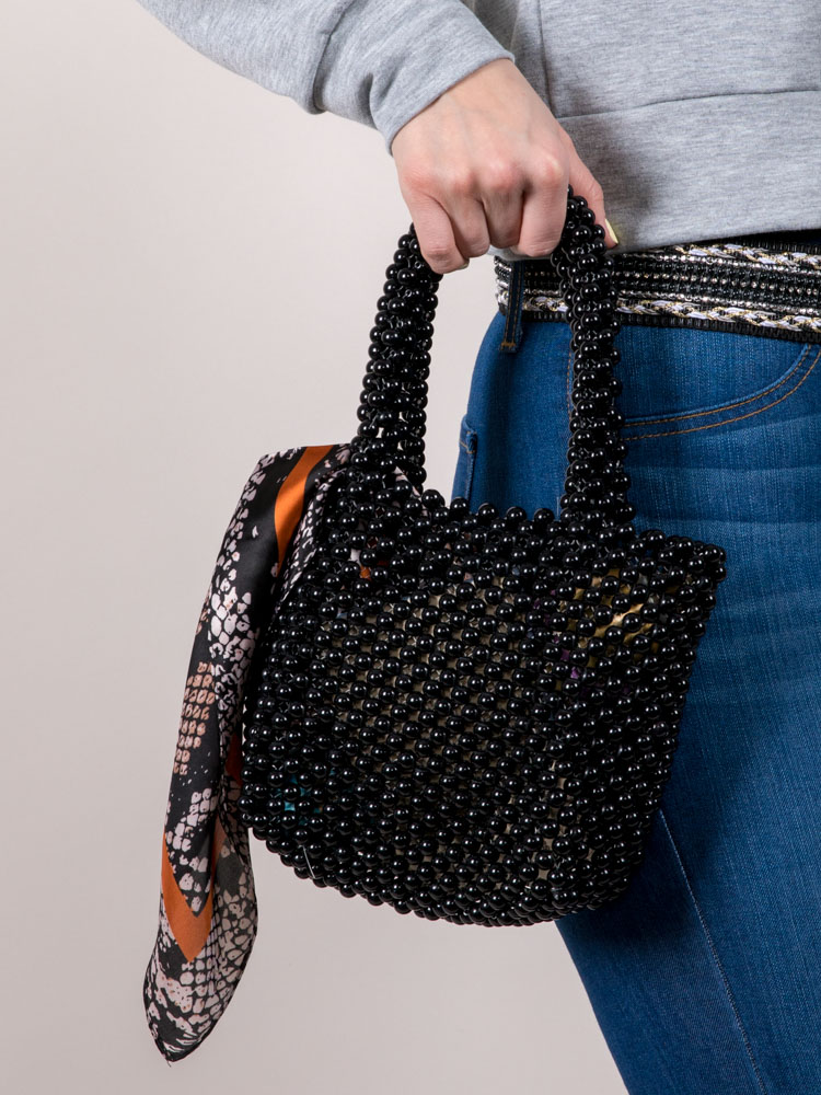 Black Pearl Purse Beaded Transparent Carry With
