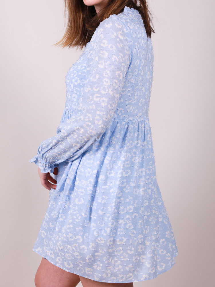 Blue Floral Baby Doll Donatella Dress Back