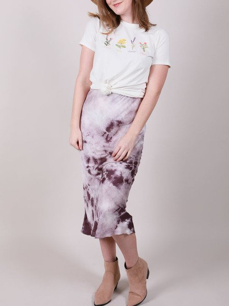 Suzuko Dye Skirt Tie Dye Purple Bodycon Midi