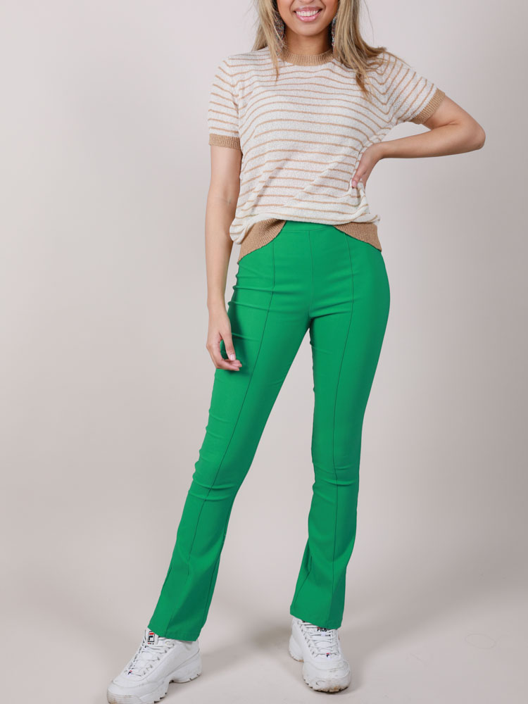 Blossom Pants Stretchy Green Hi Rise Front