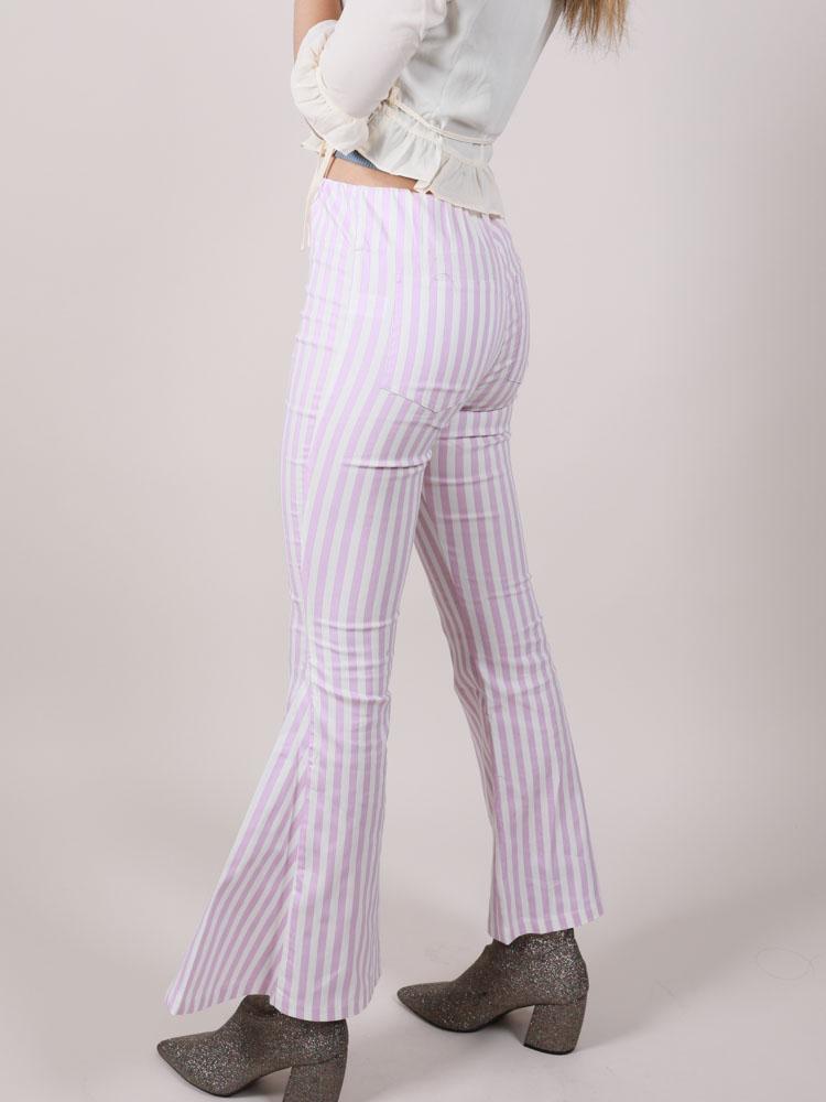 Lavender Stripe Hi Rise Flares Maddox Pants Side