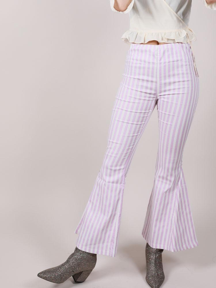 Lavender Stripe Hi Rise Flares Maddox Pants