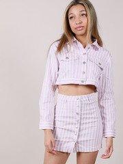 Maddox Jacket  Lavender Cropped Denim Front
