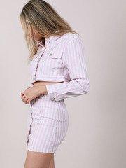 Maddox Jacket  Lavender Cropped Denim Side