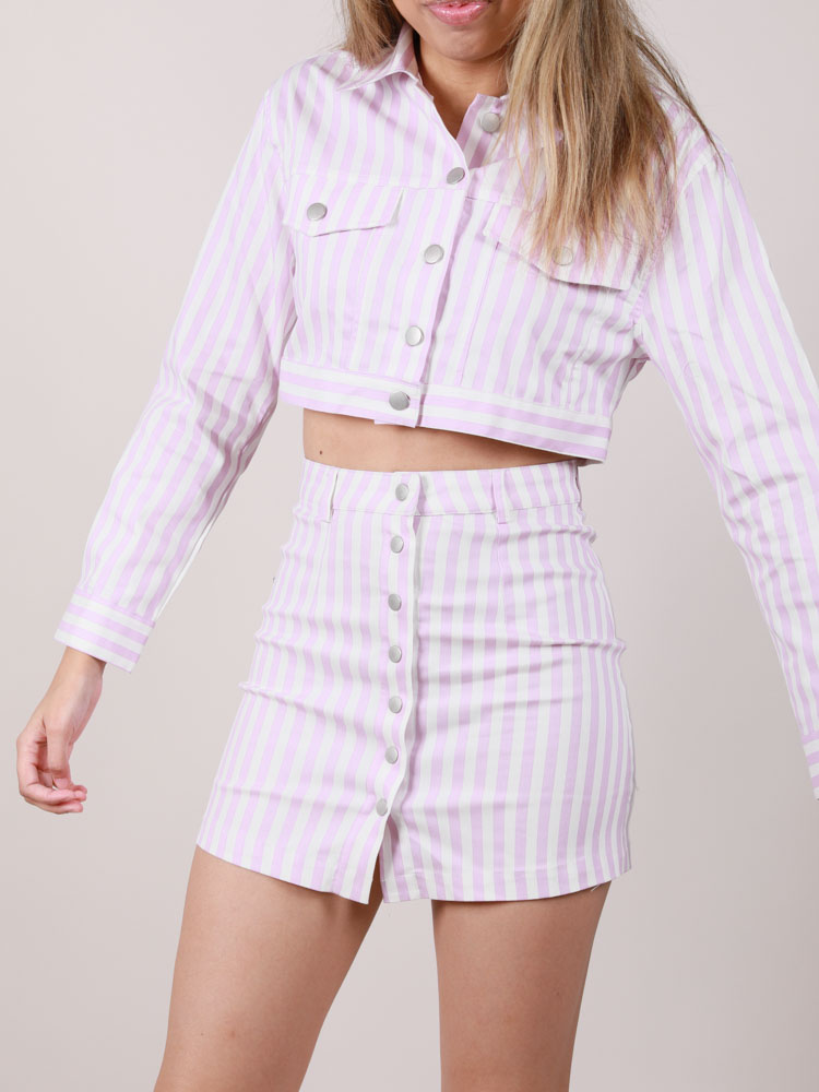 Lavender Striped Hi Rise Maddox Skirt Front