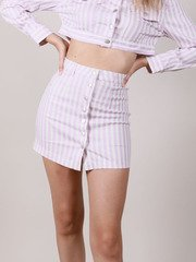 Lavender Striped Hi Rise Front Maddox Skirt
