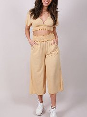 Payden Gingham Pants Hi Rise Ruffle Crops Front