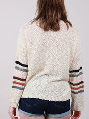 Raelee Sweater Stripe Color Sleeve Knit