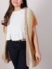 Laura Color Kimono Crochet Knit Layer