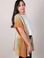 Laura Color Kimono Crochet Knit Layer Side