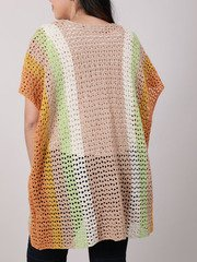 Laura Color Kimono Crochet Knit Layer Back