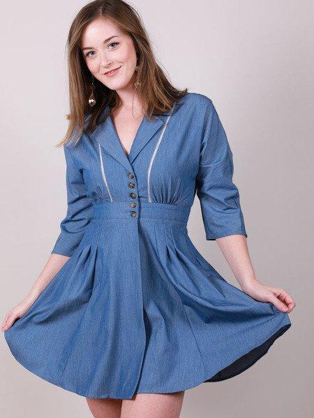 Lincoln Dress Blue Pete Pan Peplum Apron