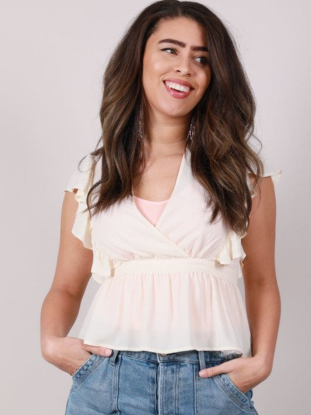 Emmons Peplum Blouse Tie Up Ruffle Crop