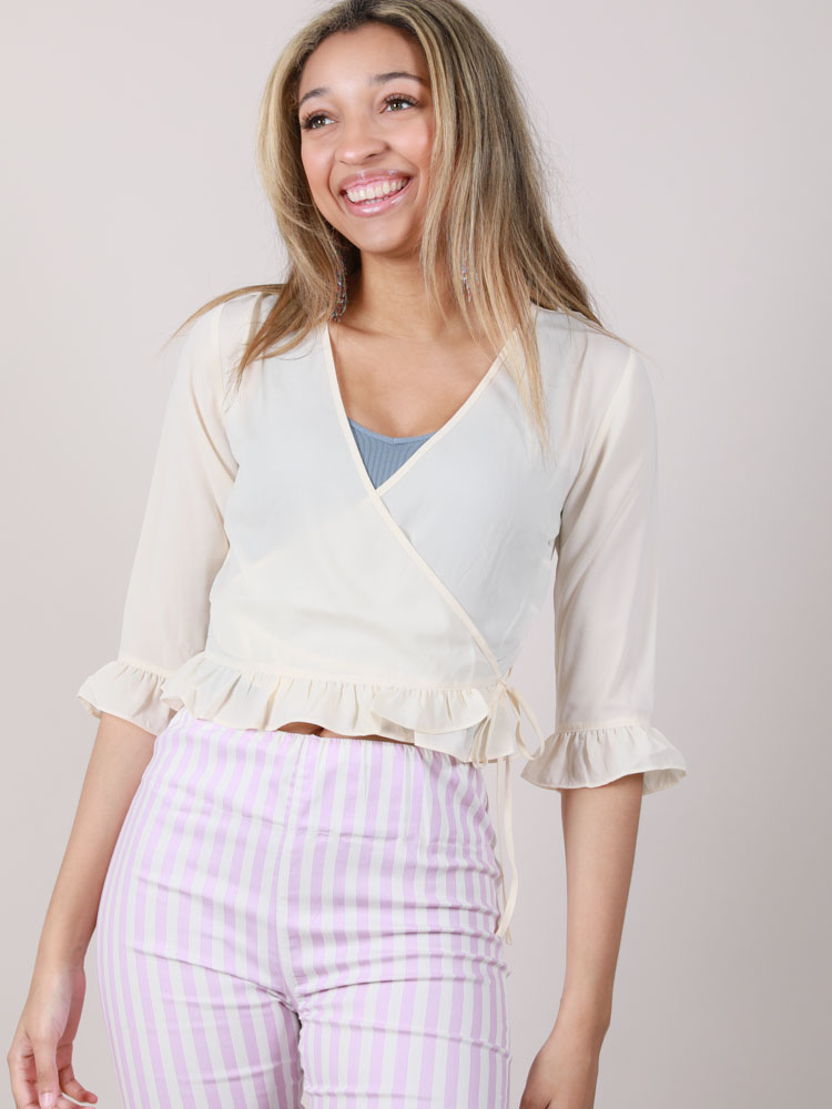Crop Ruffle Blouse Elko Wrap Blouse