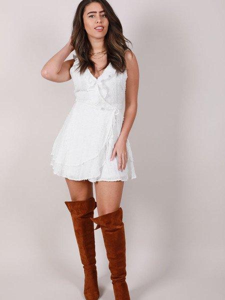 Edanna Ruffle Dress Texture White Tank Peplum Front