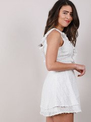 Edanna Ruffle Dress Texture White Tank Peplum