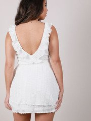 Edanna Ruffle Dress Texture White Tank Peplum Back