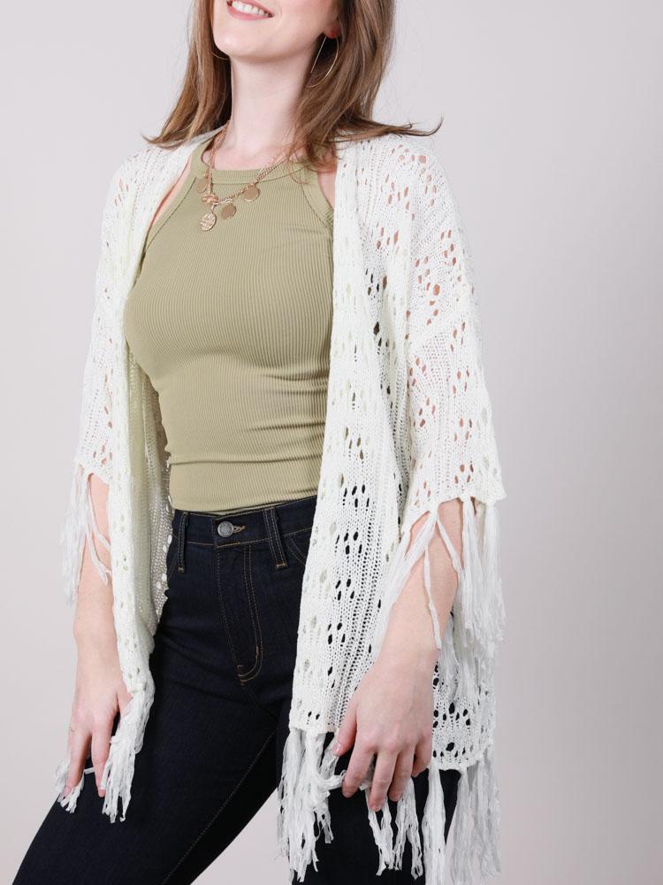 Brea Knit Kimono Knitted Lace Layer