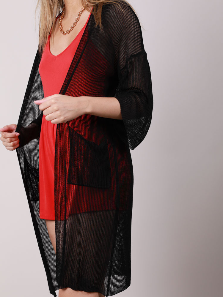 Mesh Pocketed Open Front Brandy Kimono