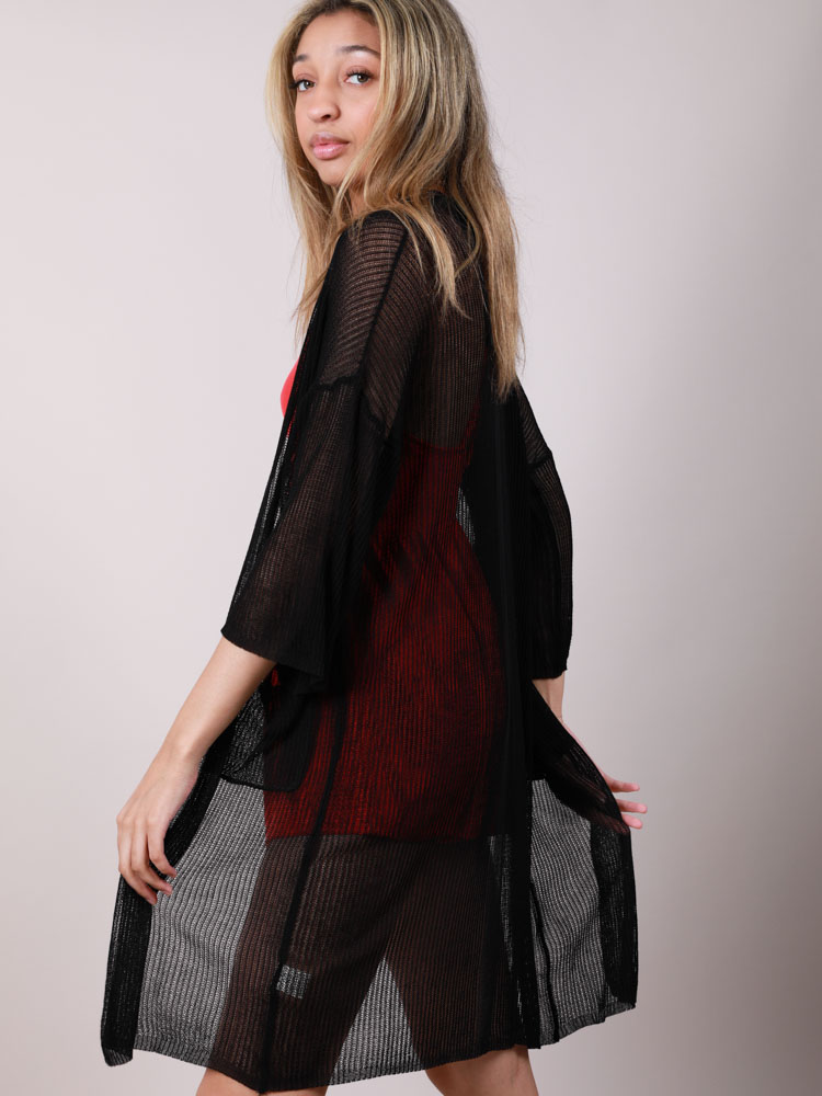 Mesh Pocketed Open Front Brandy Kimono Side