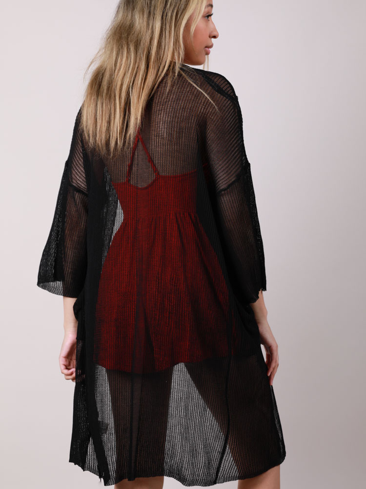 Mesh Pocketed Open Front Brandy Kimono Back