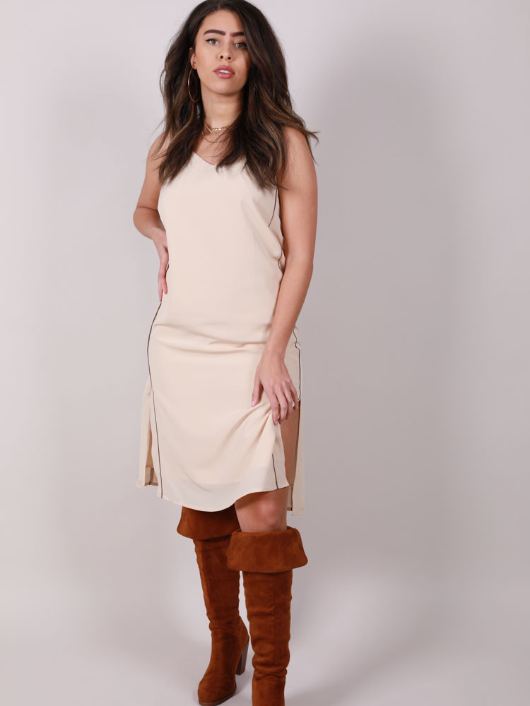 Olivia Slip Dress Slit Side Slip Front