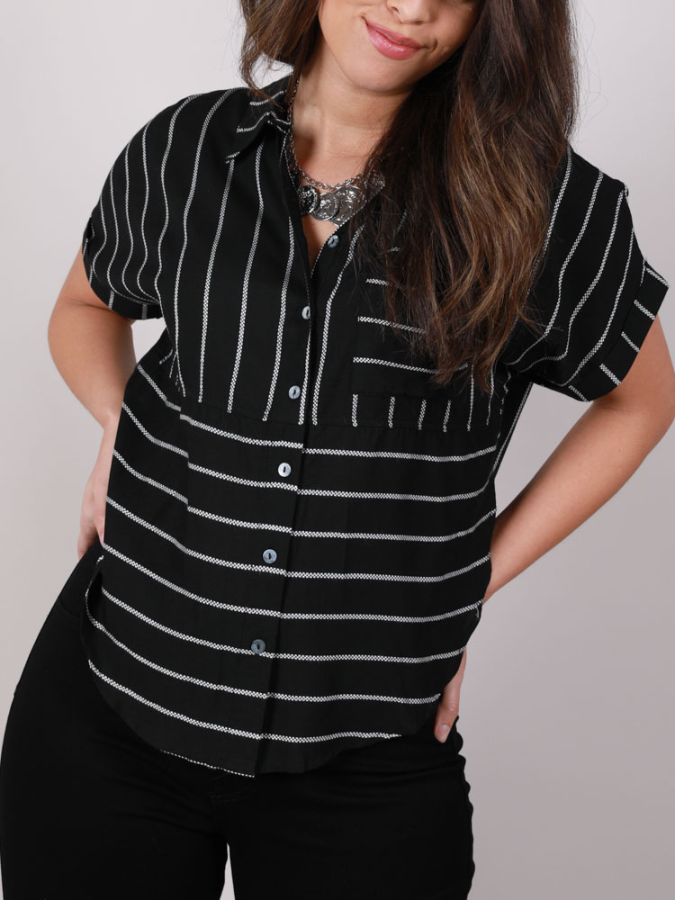 Emely Top Side Slit Striped Button Up Front