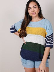 Danny Sweater Short Sleeve Colorful Top Front