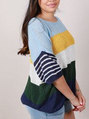 Danny Sweater Short Sleeve Colorful Top