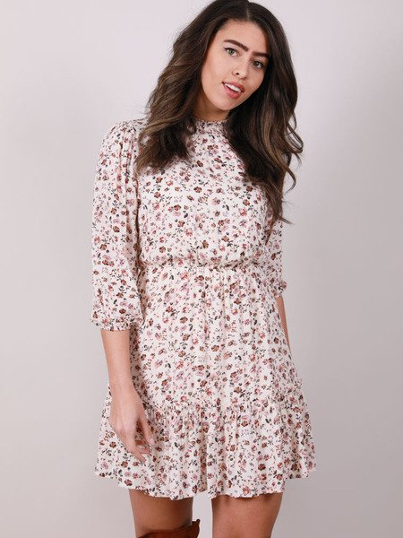 Myrna Dress Mock Neck Floral Long Sleeve Front