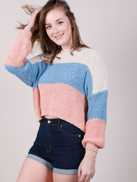 Corinne Sweater Corinne Sweater Pastel Striped Crop