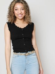 Prissy Button Tank Button Up Ruffle Outline Back