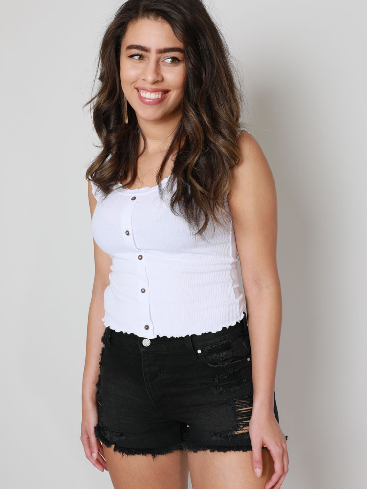 Prissy Button Button Up Ruffle Outline Tank