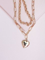 Locket Chain Necklace Gold