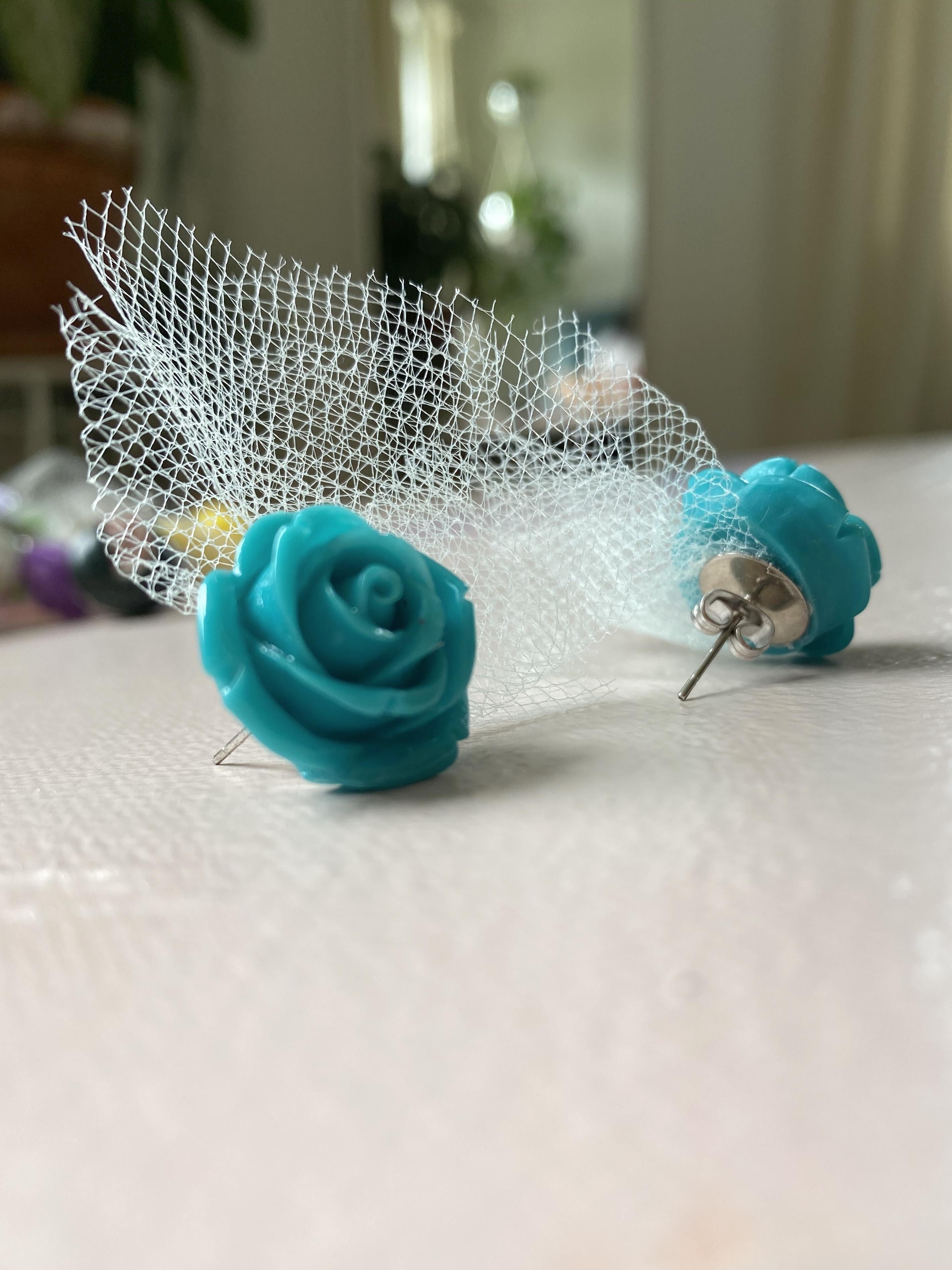 Studmuffin Blue Rose Earrings