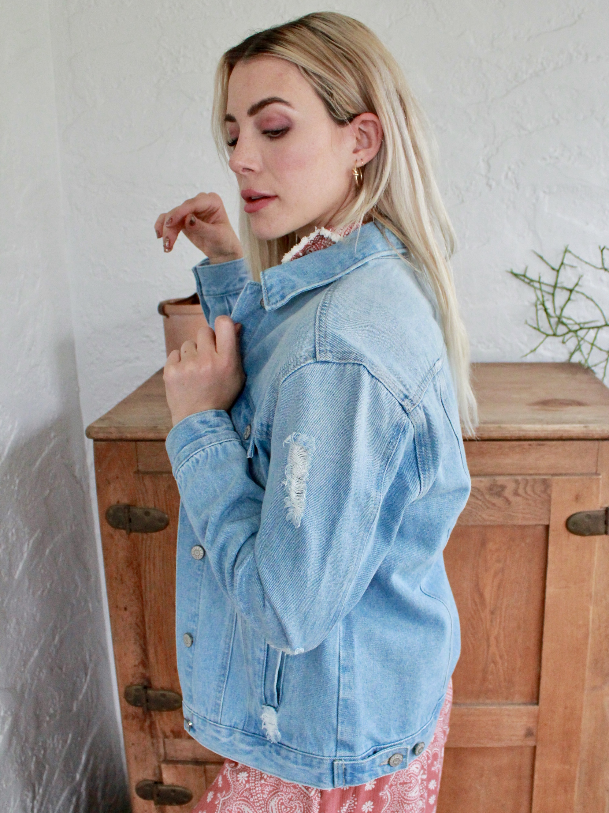Free Bird Jacket Denim Distressed Layer