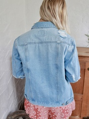 Free Bird Jacket Denim Distressed Layer Back