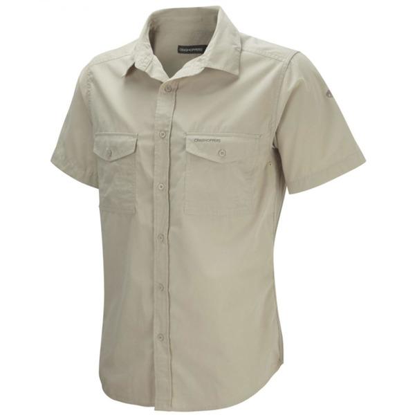 Craghoppers Men's Kiwi Short Sleeve Shirt-Oatmeal