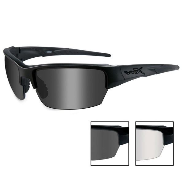 Wiley X Saint Gray+Clear-Matte Black Ballistic Eyewear