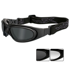 Wiley X SG-1 V-Cut Googles Gray+Clear Lens-Matte Black Frame