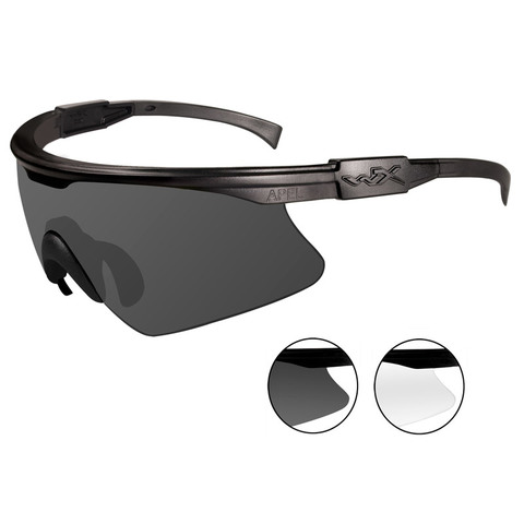 Wiley X PT-1SC Smoke+Clear Lens-Matte Black Frame Ballistic Eyewear