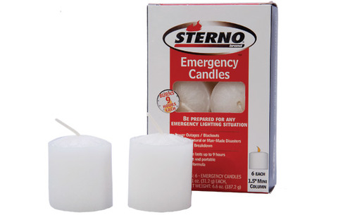 Sterno Mini Column Emergency Candles 6 pack