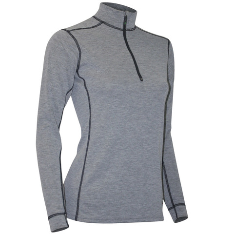 Polarmax Women's Micro H2 Long Sleeve Zip Mock Top-Gray