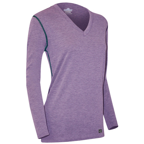 Polarmax Women's Micro H2 Long Sleeve V-Neck Top-Purple