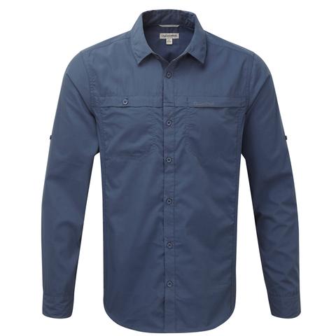 Craghoppers Men's Kiwi Trek Long Sleeved Shirt Faded Indigo