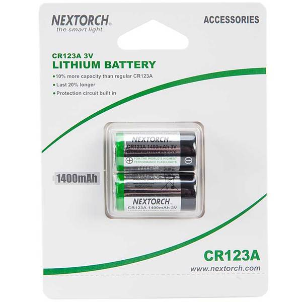 Nextorch CR123A Lithium Batteries - Pack of Two