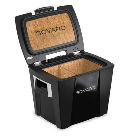 Sovaro 30 Quart Cooler- Black - Brushed Silver