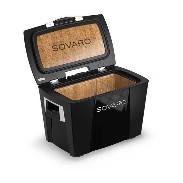 Sovaro 45 Quart Cooler- Black - Brushed Silver